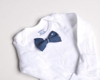 Infants white onesie with blue denim bowtie or single clip bowtie  Valentines Day