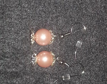 Pink Glass Beads Earring Set