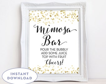 Printable Mimosa Bar Sign Gold Confetti Mimosa Bar Sign INSTANT DOWNLOAD 8x10 Gold Mimosa Sign The Giselle
