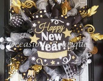 New Year's Wreath, New Year's Eve Party Decoration, Front door Wreaths, Deco Mesh Wreath, Door Hanger, Happy New Year