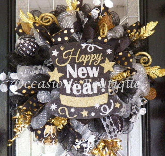 New year 39 s wreath new year 39 s eve party decoration - Magnificent new year office decoration ...