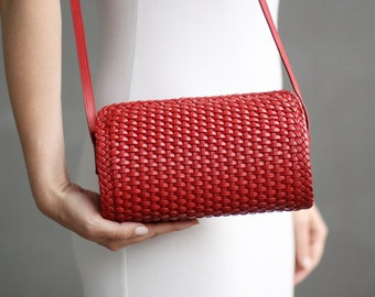 Free shipping! Red bag, red leather bag, red purse, braided bag, leather braided purse, red everyday bag, red woman bag