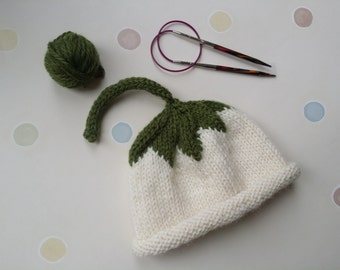 Knitted Baby Hat - Knitted Hat - Cream Flower - Newborn size - Natural Fibre - Baby Gift