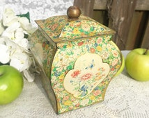 Sweet Dutch Shabby Chic tin box, Jar Urn, Holland, Green, Pink, Yellow, Floral, Chintz, Mid Century Decorative canister, Vase, Biscuit