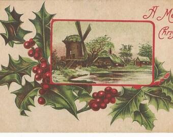 "1910  Beautiful  ""A Merry Christmas"" Postcard"