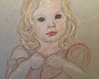 Custom Child Portrait with Mat - small