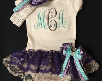 Newborn Baby Girl Photo Oufit Monogrammed Body Suit with Attached Double Lace Ruffle TuTu Skirt. Matching Headband and Sidebow. 0-18 Months