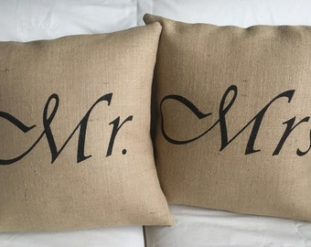Mr. & Mrs. Burlap Pillow Set - Fits 16 x 16 Pillow Insert- Wedding/Anniversary Gift, His and Hers