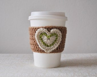 Crochet Coffee Sleeve - heart cosy, new home gift, valentines day, wedding gifts, his and hers, romantic gifts, tea cosy, crochet gifts