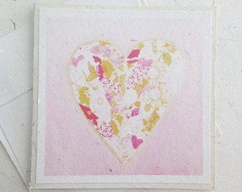 Pink Heart Greeting Card Blank inside - Elephant Dung Fair trade recycled tree free paper art card