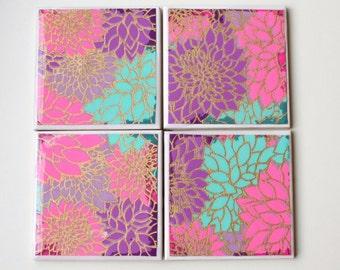 Pink Floral ceramic drinks coasters, Flower Garden Pastel design coasters