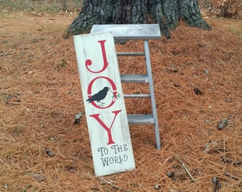 Hand Painted and Distressed Joy To The World Wooden Christmas Sign, Primitive Christmas Sign, Christmas Decor, Christmas Wall Hanging