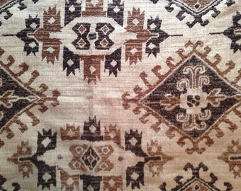 Brown & Cream Damask Curtain Upholstery Fabric- 1 yard Ready to Ship