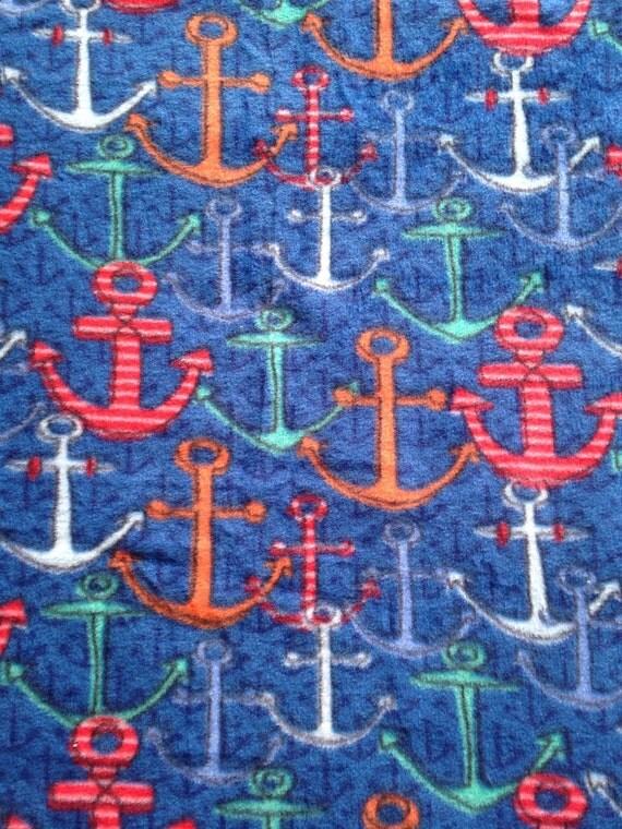 Navy blue anchor fleece fabric 1 yard ready to ship for Spaceship fleece fabric