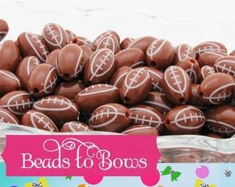 16mm Football Beads, Football Bubblegum Beads,  Chunky Football Bubblegum Bead,  Football Beads, Chunky Necklace Supply Beads, Football Bead
