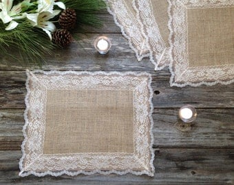 Rustic Placemats - Burlap and HAYSEED BEIGE/ NATURAL Lace, Wedding Placemat/Rustic Country Wedding/Country Home Decor/French Country Cottage
