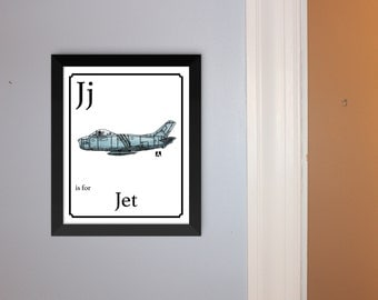 "Alphabet Cards - ""J"" is for Jet - Unframed Hand Drawn Pen & Ink Watercolor Sketch Print Of F86 Fighter Jet"