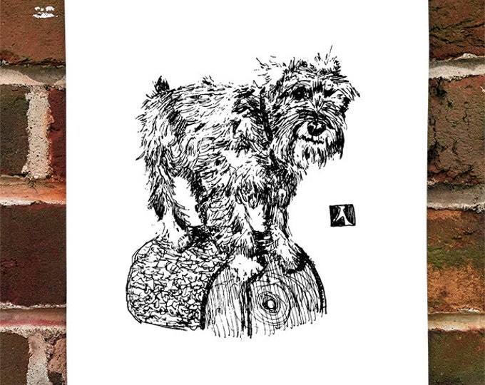 KillerBeeMoto: Limited Hand Drawn Prints Standard Schnauzer On A Log 1 of 50 Prints
