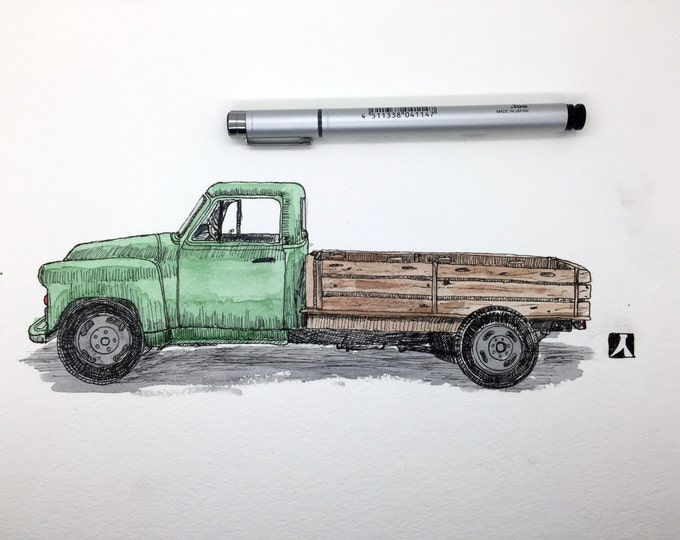 KillerBeeMoto:  Original Pen & Ink Sketch of Vintage Pick Up Truck