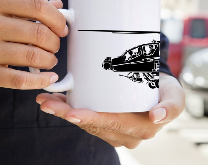 KillerBeeMoto: U.S. Made Coffee Mug Boeing AH-64 Apache Attack Helicopter Coffee Mug