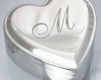 Engraved Jewelry Box, Silver Heart Jewelry Box