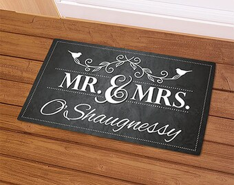 Personalized Mr and Mrs Door Mat, Newlywed Door Mat