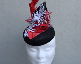 Black Red and White Fascinator Hat Races Weddings Special Events
