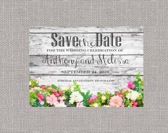 Save the Date Rustic Flowers Announcement