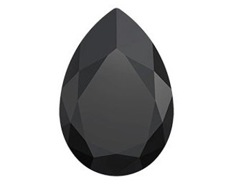 Swarovski 4327 JET 40x27mm Swarovski Crystal Large Teardrop Pear Faceted Fancy Stone No Hole