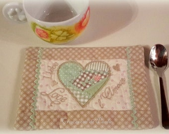 Romantic saucer with patchwork of hearts