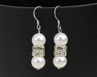 pearl earrings dangle,round pearl earrings silver,bridal pearl earings,pearl dangle earring,cheap glass pearl earrings bridesmaid gift