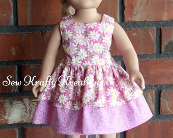 """Pink with Daises Doll Dress for 18"""" doll like American Girl"""