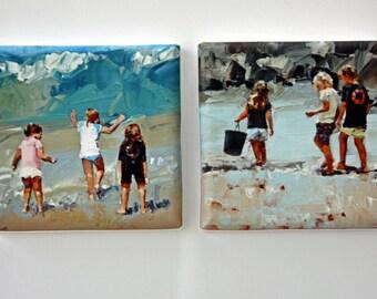Tiny Canvas | Duo | Beach Art | Print Set | Canvas Print | Wall Art | Children Playing | Small Art Print | Present | Collectible Art | Gift