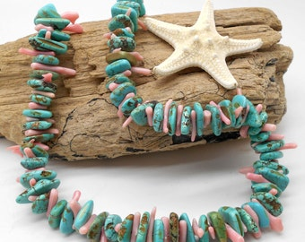 Beach Jewelry, Turquoise and Coral Statement Necklace - Chunky Necklace, Statement, Pink Coral, Turquoise, Beach Jewelry, Beach Wedding