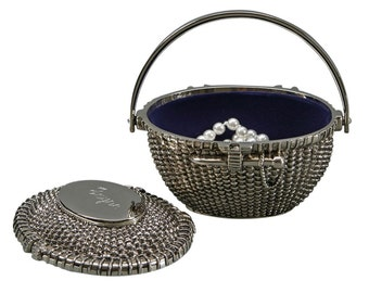 Basket Box, Faux  Natucket Style, Trinket, Jewelry Box, Lift Off lid,  Free Engraving