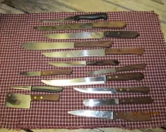 Vintage lot of 14 Kitchen knives Wooden Wood Handles Assortment Geneva Tempered Japan Stainless Steel Imperial Regent Sheffield Lot