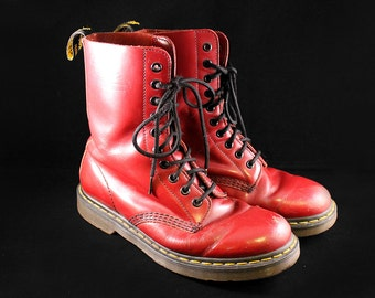 Vintage Size 8.5/9 Women's // 7 Men's Oxblood Red Dr Marten Boots Tall 10 Hole - UK 6 90s Grunge Punk Leather Boots - Rare Doc Marten Boots