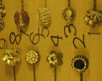 vintage one of a kind durable  bobby pin  joy jewelry,karen hudson