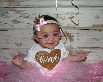 Pink and Gold  Adorable 1st Birthday tutu and Onsie set with matching headband!