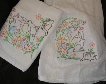 Pair of Flour sack towels - Colorful vintage style spingtime bunny rabbit - Embroidered Great Gift!