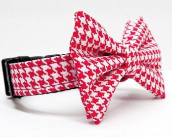 Dog Bow Tie and Collar Combo - Happy Hounds - Red and White Houndstooth
