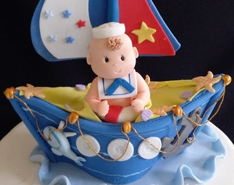 Nautical Cake Topper, Nautical First Birthday, Nautical Baby Shower, Nautical, Nautical Favor, Nautical Party Decoration, Baby Sailor Favor
