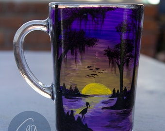 Purple and Gold Swamp Scene Coffee Mug