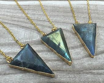 Labradorite Triangle Necklace // Labradorite Pendant Connector with Double Bail Electroplated 24k Gold Edge (SD81_01)