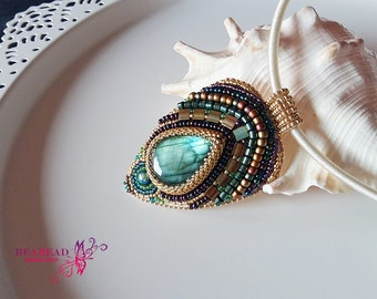 Bead embroidery jewelry, Beaded pendant, bead embroidery necklace, bead embroidery pendant, handmade jewelry , mineral pendant