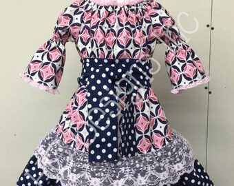 Custom Boutique Pink/Navy Peasant Dress