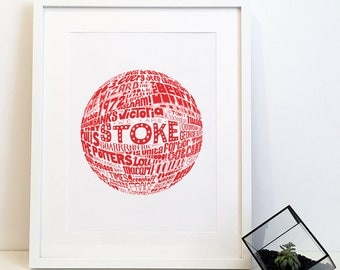 Stoke City Football Club Typography Print Poster
