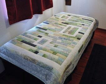 Lovely Batik Twin Quilt in Soft Greens with Embroidered Shells