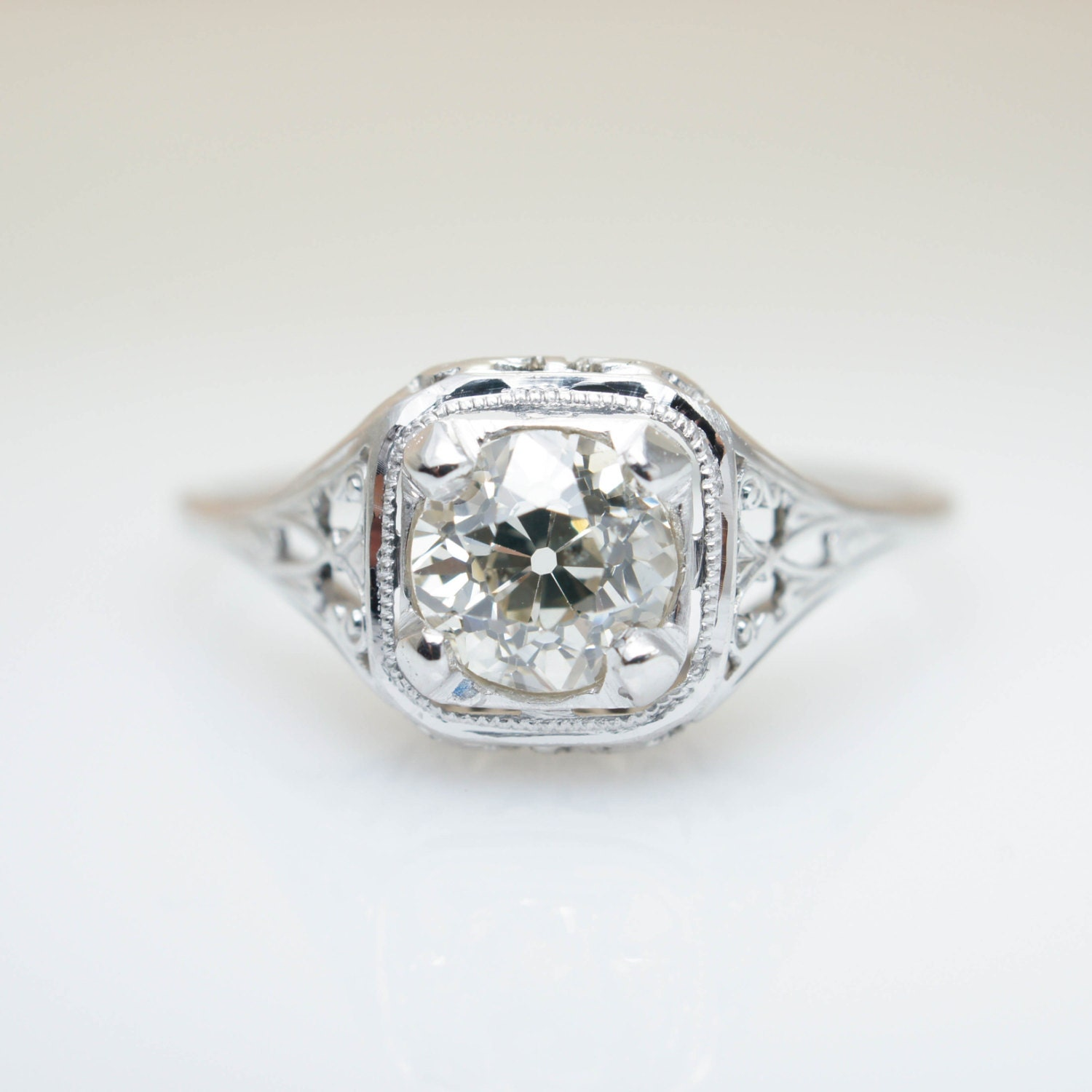 Antique engagement ring edwardian engagement unique diamond for Wedding ring unique