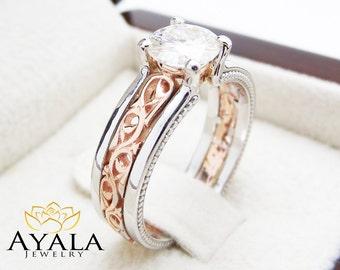 Unique Art Deco Engagement Ring 14K Two Tone Gold 1 Carat Moissanite Ring Art Deco Moissanite Engagement Ring